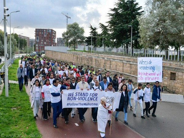 'Gandhi March for Non-Violence' organised by the Indian Embassy in The Hague on Wednesday