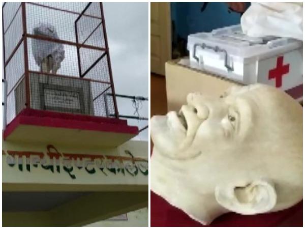 Mahatma Gandhi's statue vandalized in Jalaun's Sri Gandhi Inter College. (Photo/ANI)