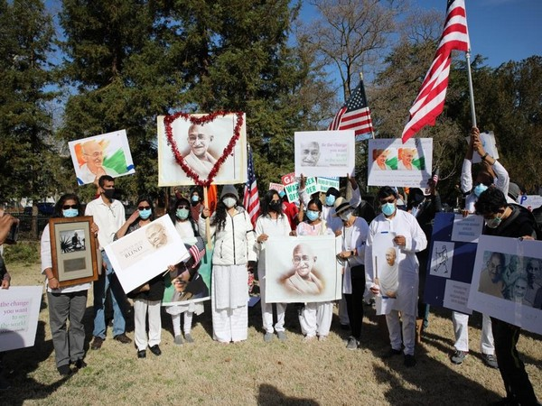Indian Americans holding a vigil and demanding reinstallation of Gandhi's statue (ANI)