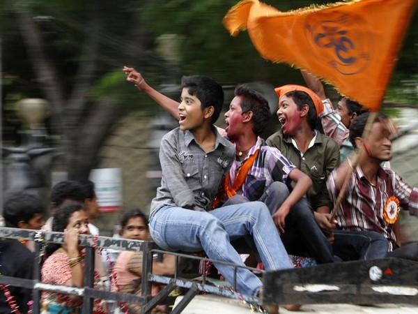 Boys chant religious slogans as they take part in a procession during the Ganesh Chaturthi festival in Hyderabad (Photo/Reuters)