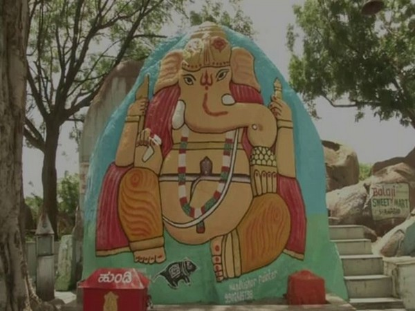 The idol of Lord Ganesha in the Bankur village of Kalburagi in Karnataka. Photo/ANI