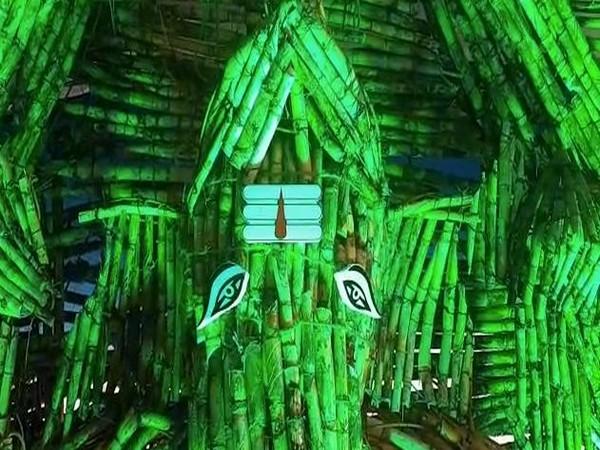 The Sugarcane Ganesha by Ganesh Mandal in Nandigama town in Krishna district of Andhra Pradesh. Photo/ANI