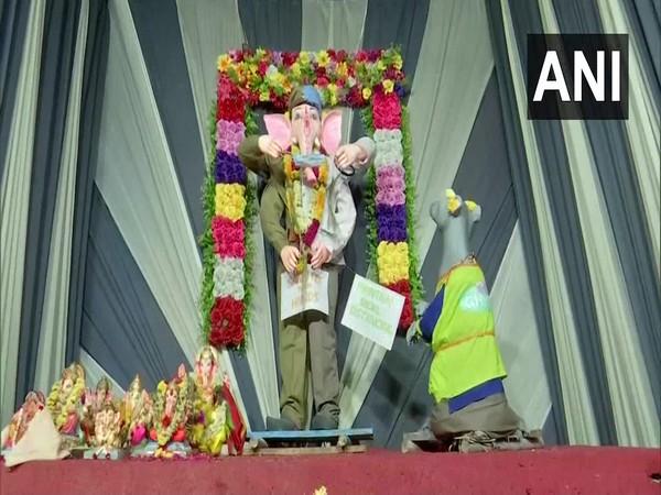 Lord Ganesh idol installed in Hyderabad. (Photo/ANI)