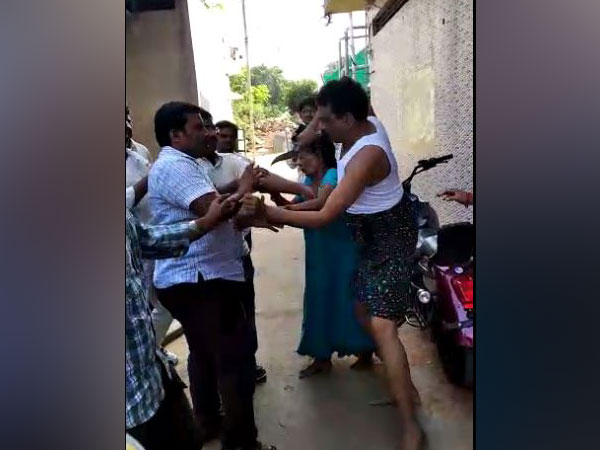 A video of Gangu Anand attacking men in Nandyal town on Tuesday . [Photo/ANI]