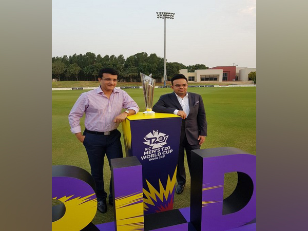 Sourav Ganguly and Jay Shah with T20 WC trophy (Photo/ Sourav Ganguly Twitter)