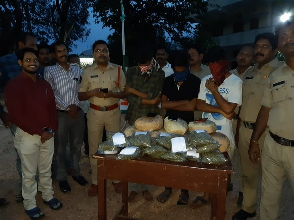 The accused students with seized ganja in Vizianagaram, Andhra Pradesh.