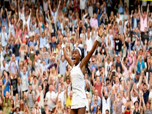 """Cori """"Coco"""" Gauff celebrates victory against Polona Hercog in the third round of Wimbledon on Friday"""