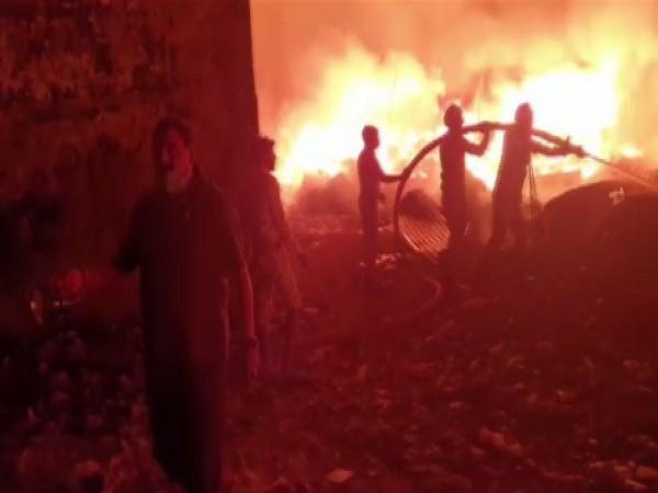 Visual of fire in Ghaziabad's Bhopura. (Photo/ANI)