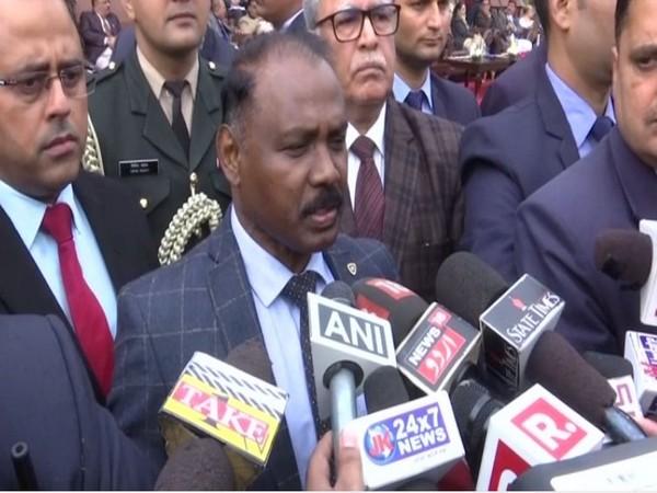 Lieutenant Governor GC Murmu speaking to reporters in Jammu on Wednesday. Photo/ANI