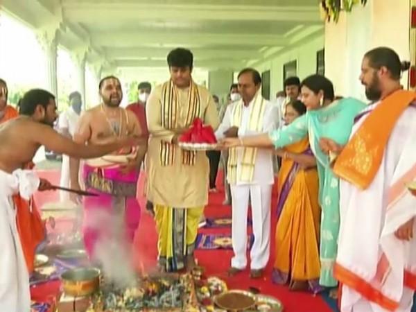 Telangana CM K. Chandrasekhar Rao with family performing a Ganesh Puja at Pragathi Bhavan (Photo/ANI)