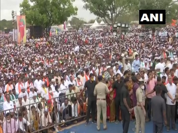 Visuals from the rally by Panchamasali community in Bengaluru. (Photo/ANI)