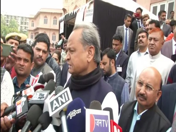 Rajasthan Chief Minister Ashok Gehlot speaks to media in Jaipur on Tuesday [Photo/ANI]
