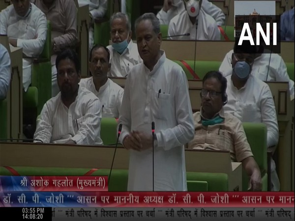 Rajasthan Chief Minister Ashok Gehlot in state assembly on Friday. (Photo/ANI)