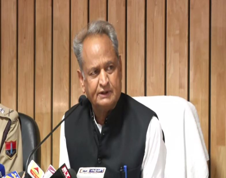 Chief Minister Ashok Gehlot speaking at a press conference in Jaipur on Wednesday. Photo/ANI