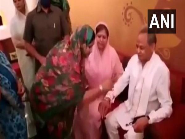 Women MLAs on Monday tied rakhi to Chief Minister Ashok Gehlot at Hotel Suryagarh in Jaisalmer on the occasion of Raksha Bandhan.