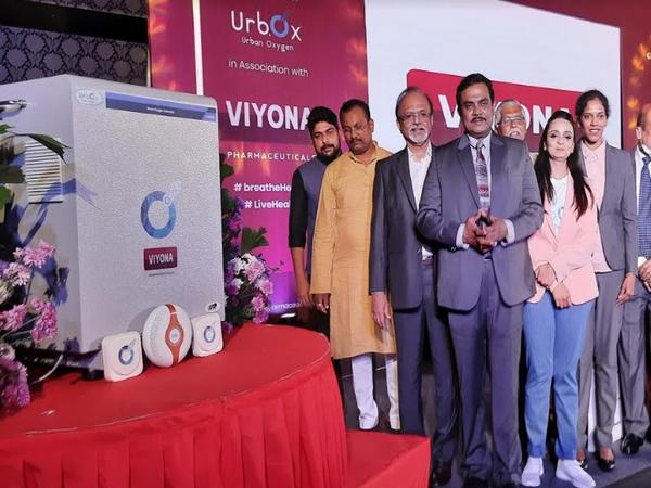 L-R: B V Gopal Reddy (President FKCCI Bangalore), KM Srinivasan Murthy (Vaidehi Medical College Director),  Vanitha Patel (MD of Urb.Ox) & Vineela (MD of VIYONA Pharmaceuticals)