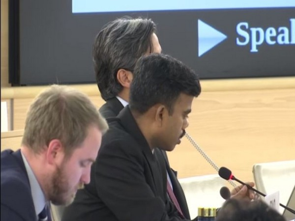 Senthil Kumar, the First Secretary of India's Permanent Mission to the United Nations (C) speaking at the 42nd session of UNHRC on Tuesday.