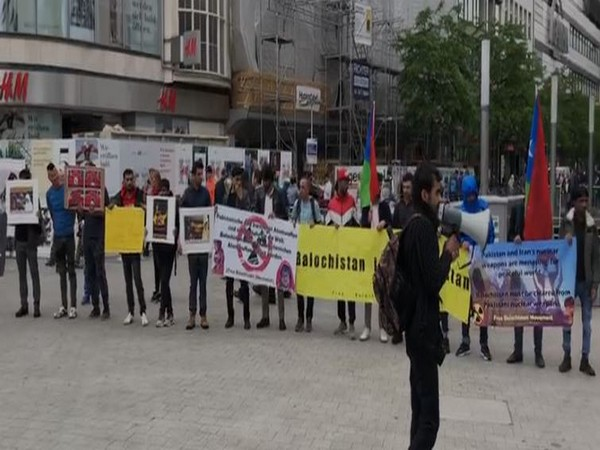 Members of the Free Balochistan Movement organising a protest in the Hannover, Germany on Tuesday. (Photo/ANI)