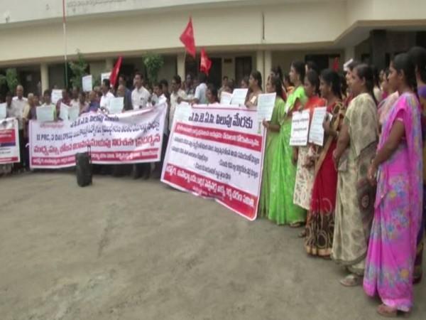 Government employees on strike in Vijayawada in Andhra Pradesh. Photo/ANI