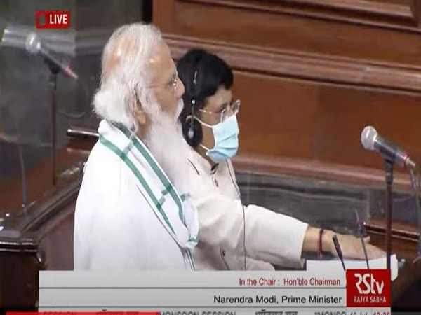 PM Narendra Modi introduced new Ministers in Rajya Sabha (Photo/ANI)