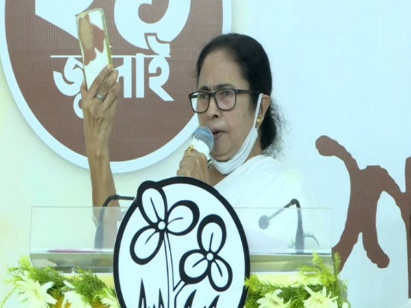 West Bengal Chief Minister Mamata Banerjee virtually addressing the people on the occasion of Martyr's Day, in Kolkata on Wednesday . [Photo/ANI]