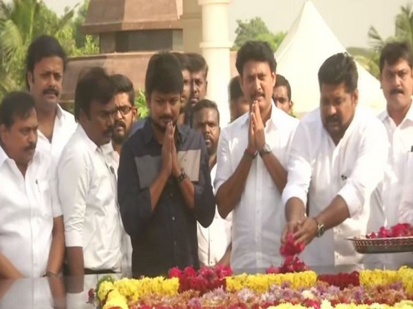 DMK youth wing President Udayanidhi Stalin (in black shirt) visited Karunanidhi's memorial on Wednesday in Tamil Nadu's Chennai. Photo/ANI
