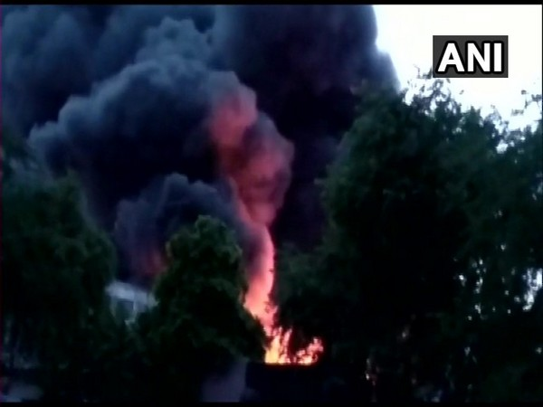 The fire at a godown in Ghitorni.