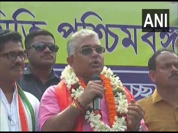 West Bengal BJP unit chief Dilip Ghosh addressing at a 'Gopa Ashtami' programme in Burdwan on Monday