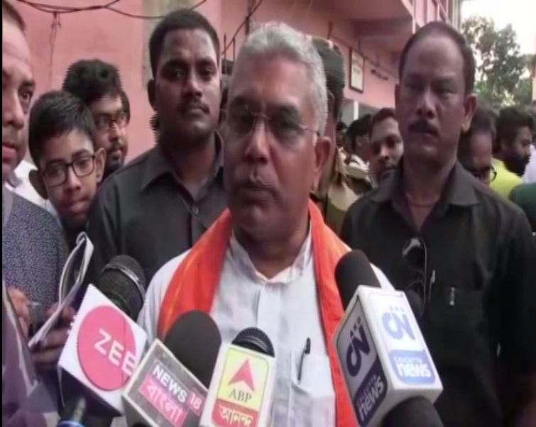 BJP state president Dilip Ghosh speaking to reporters in Howrah, West Bengal on Sunday. Photo/ANI