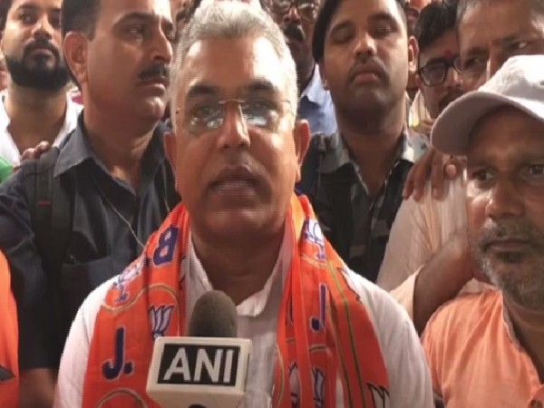 BJP West Bengal president Dilip Ghosh speaking to ANI in Siliguri on Tuesday.