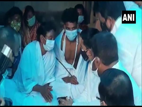 TMC leader Abhishek Banerjee meeting a lightning victim's family (ANI).