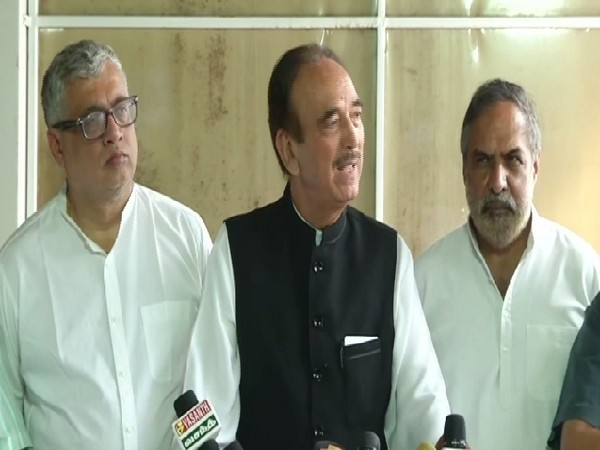 Senior Congress leader Ghulam Nabi Azad speaking at a press conference in New Delhi on July 31.