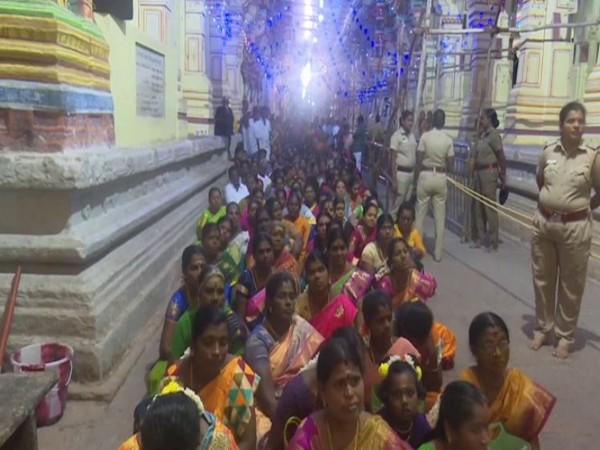 Women devotees thronged Arulmigu Ramanathaswamy temple to celebrate Arudra Darisanam festival in Tamil Nadu [Photo/ANI]