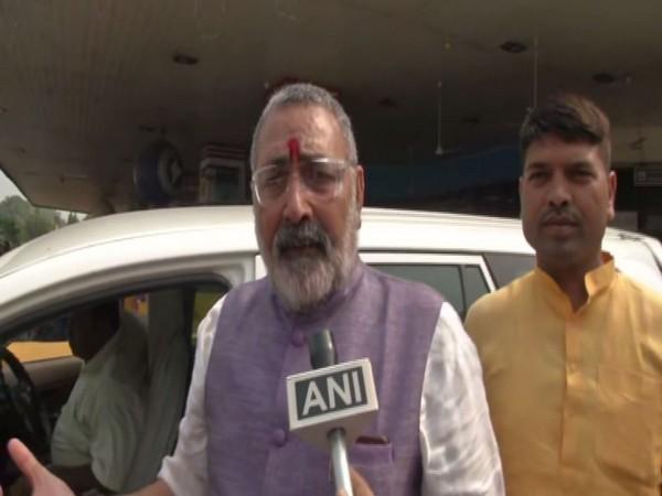 Union Minister Giriraj Singh speaking to ANI in Patna on Monday. Photo/ANI