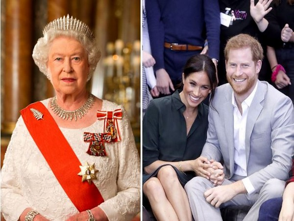 Queen Elizabeth II, and Meghan Markle with Prince Harry (Image courtesy: Instagram)