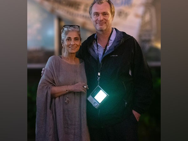 Filmmaker Christopher Nolan with Bollywood veteran actor Dimple Kapadia (Image Source: Instagram)