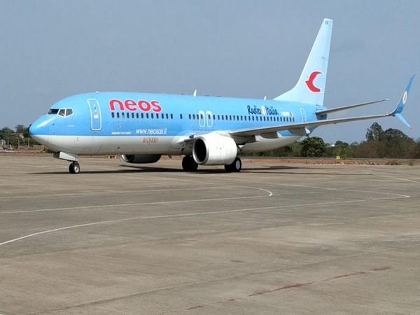 The aircraft bringing the Goan seafarers at Goa International Airport.