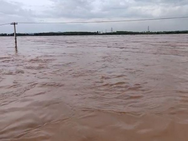 A view of the Godavri river flowing in Bhadrachalam area of Telangana on Monday. Photo/ANI