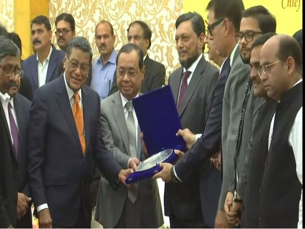 CJI Ranjan Gogoi, Justice SA Bobde and other judges at the event in Supreme Court lawns.  Photo/ANI