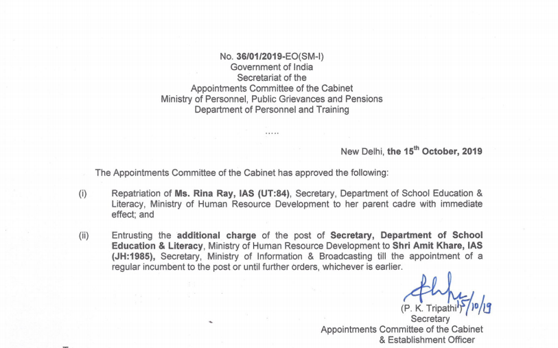 Official note of the Appointments Committee of the Cabinet.