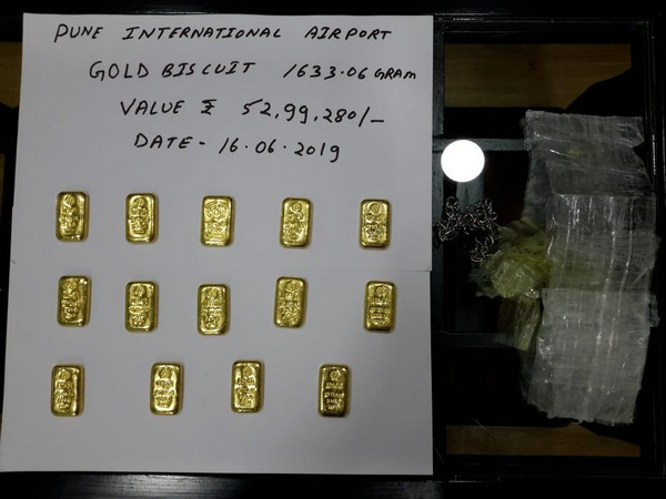 Gold biscuits seized by Pune Customs officials. Photo/Office of Commissioner of Customs, Pune