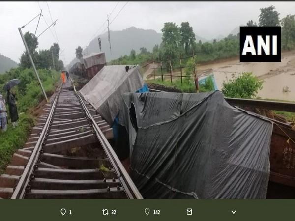 Three wagons of a goods train derailed near Rayagada on Wednesday morning. Photo/ANI