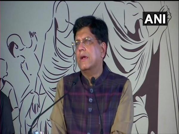 Railways Minister Piyush Goyal speaking at the Vande Bharat flag-off event in New Delhi on Thursday.
