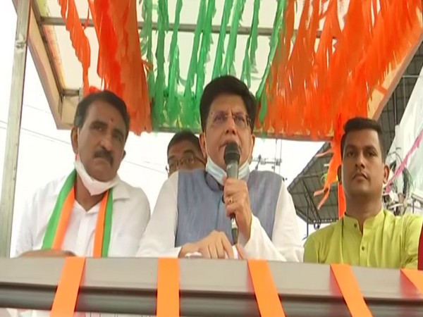 Union Minister Piyush Goyal holding roadshow in Thrissur on Monday.