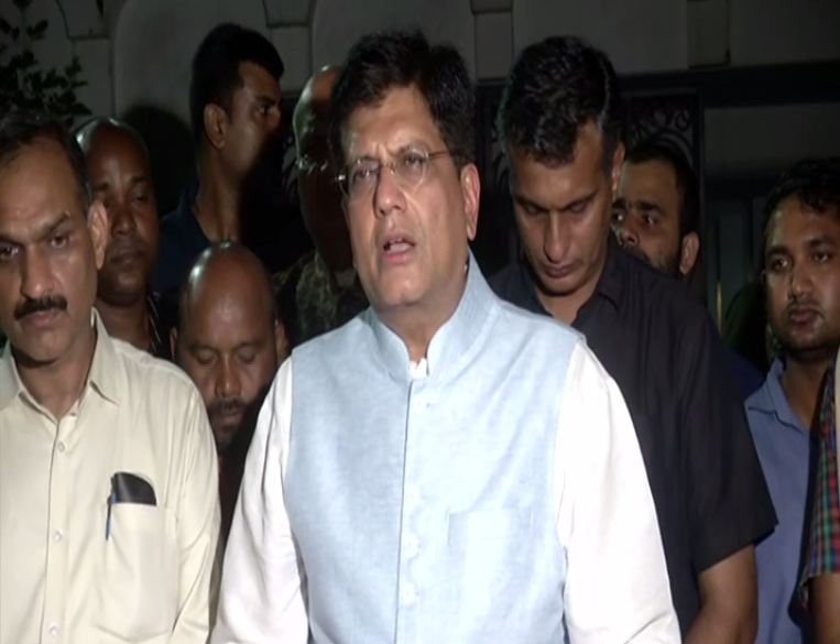 Union Minister Piyush Goyal speaking to media persons in New Delhi on Saturday. Photo/ANI
