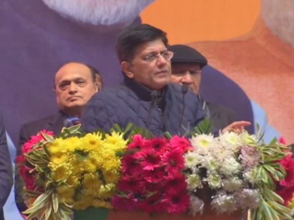 Union Minister Piyush Goyal speaking at an event in Talkatora stadium in New Delhi on Monday