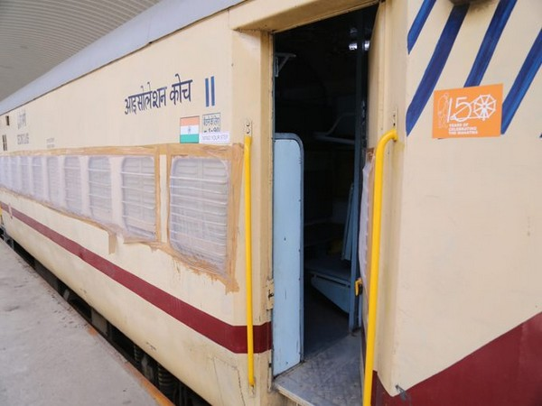Photo of a isolation coach at Shakur Basti, Delhi.