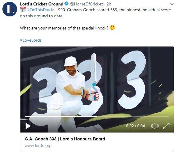 On this day in 1990, Graham Gooch scored 333 runs
