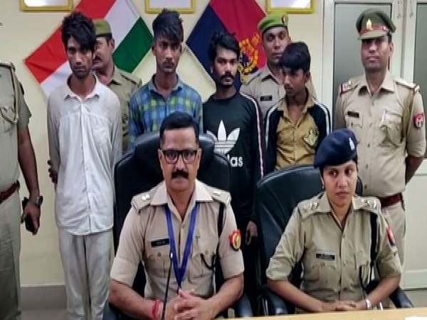 The four accused arrested for their involvement in robbery cases in Uttar Pradesh. (Photo/ANI)