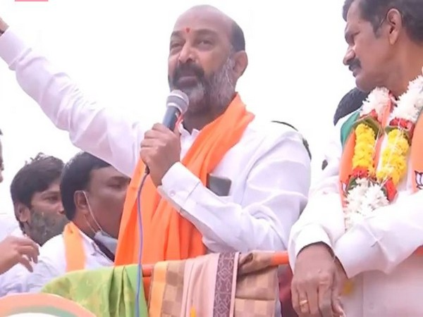 BJP Telangana President Bandi Sanjay Kumar addressing a rally in Bholakpur.